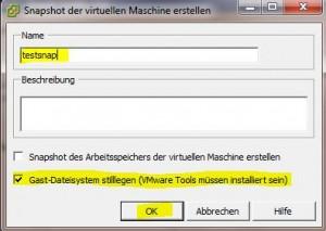 VMware Snapshot erzeugen