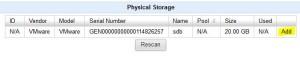 QUADStor VTL - add phys. storage